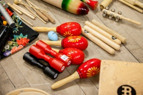Instruments from Ros' percussion session at Live Music Now's Musicians' Development Day, Jan. 30, 2017 (Photo courtesy of Live Music Now; Photographer: Ivan Gonzalez)